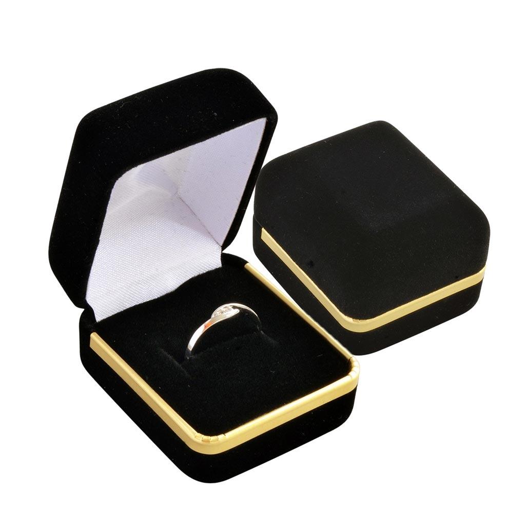 Darčeková krabička na prsteň - semiš čierny