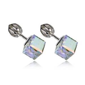 Stříbrné náušnice kostky Crystals from Swarovski®, Crystal AB
