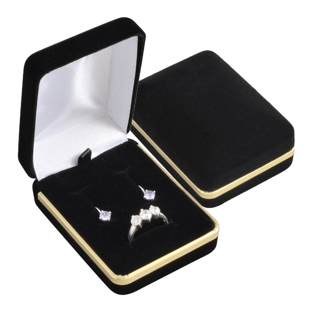 Semišová darčeková krabička na súpravu, čierna