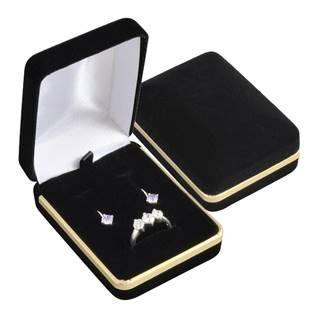 Semišová dárková krabička na soupravu, černá