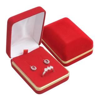 KR0002-R Semišová dárková krabička na soupravu, červená