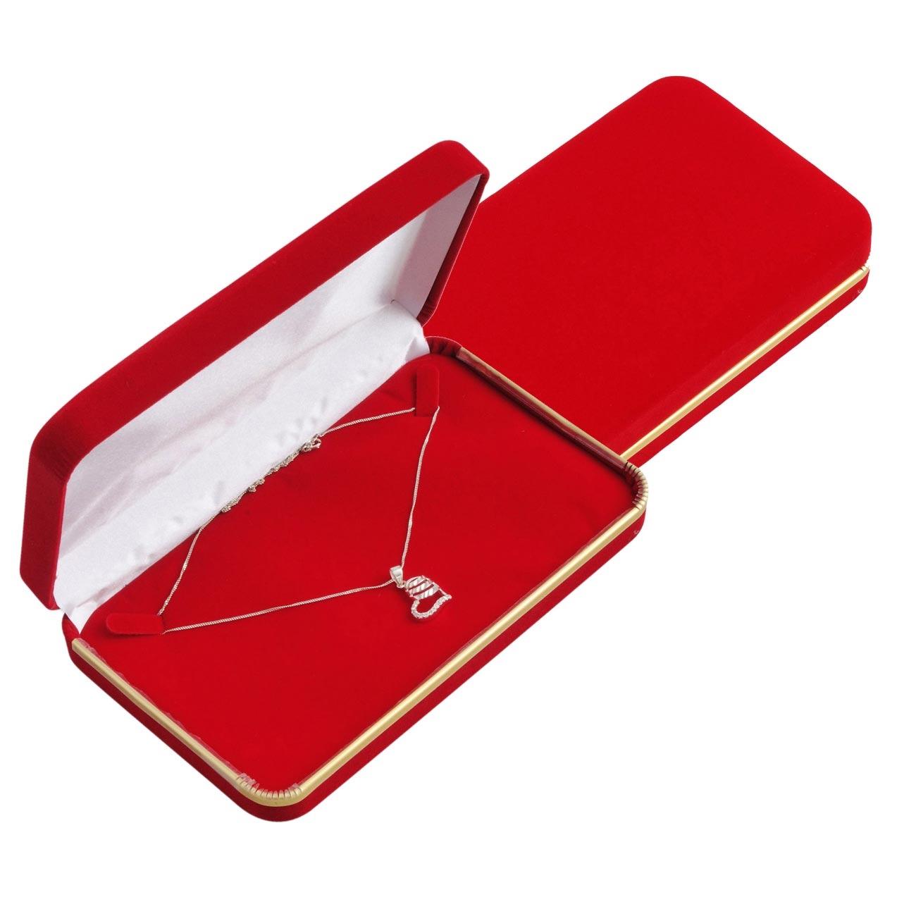 Semišová darčeková krabička na nahrdelnik, čevená