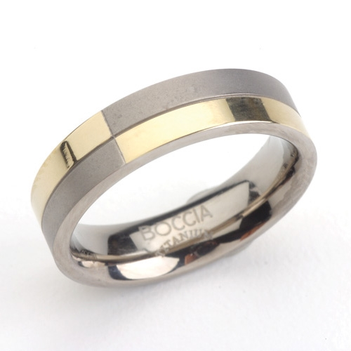 Titánový prsteň so zlatením BOCCIA® 0101-10