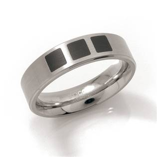 Titanový prsten s černým smaltem BOCCIA® 0101-15