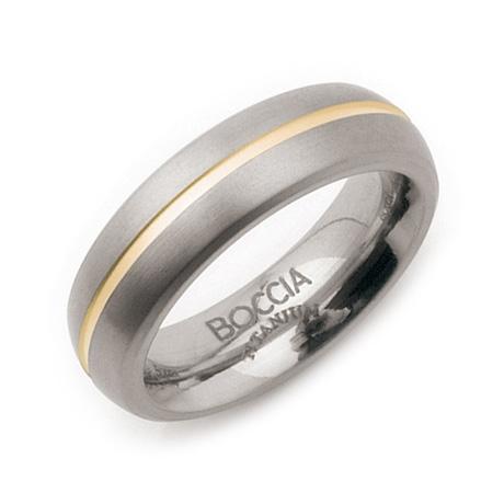 Titánový prsteň s pozlátenou drážkou BOCCIA® 0102-03