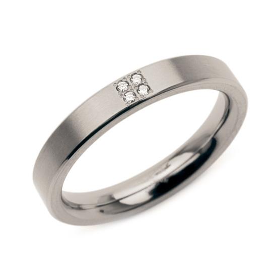 Dámsky titánový prsteň BOCCIA® s diamantmi 0120-01