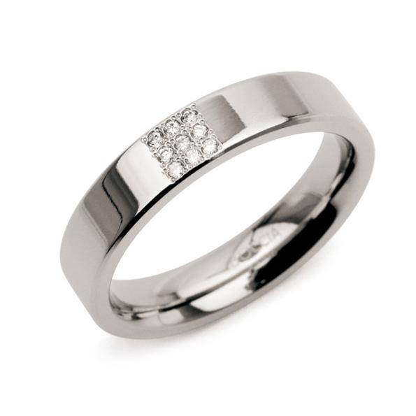 Dámsky titánový prsteň s diamantmi lesklý BOCCIA® 0121-02