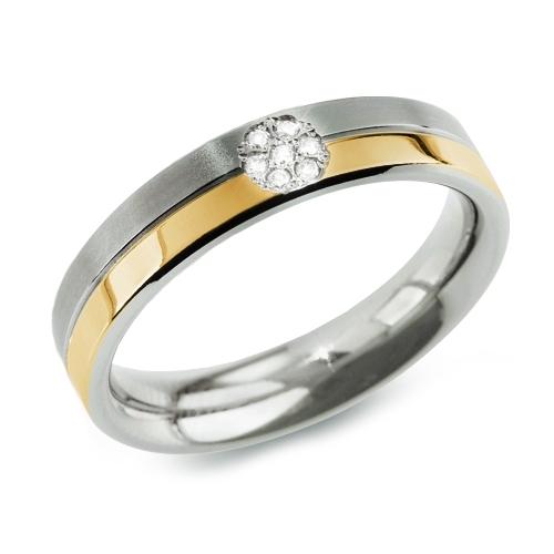 Dámsky titánový prsteň BOCCIA® s diamantmi 0129-06