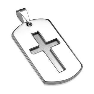 Dvojitý ocelový přívěšek - destička s křížem
