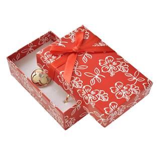 Dárková krabička na soupravu šperků s kytičkami, červená