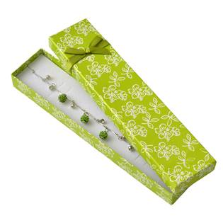 KR0225-G Dárková krabička na náramek s kytičkami, zelená