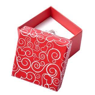 Červená krabička na prsten se sdíčkovými ornamenty