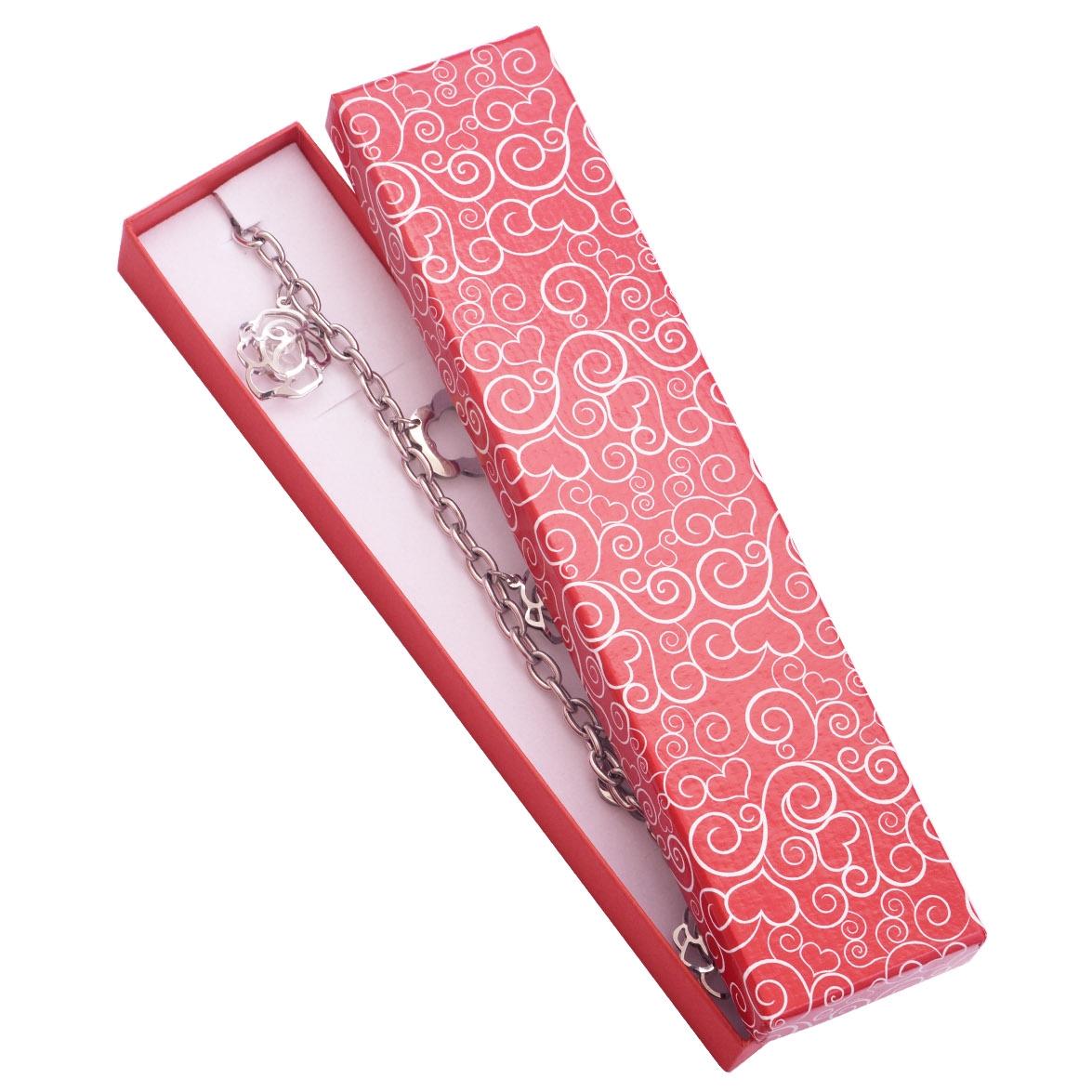 Dárková krabička na náramek se srdíčkovými ornamenty