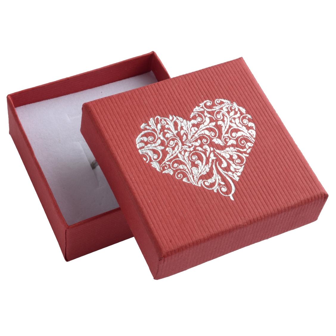 Červená darčeková krabička na súpravu šperkov s ornamentálnym srdcom