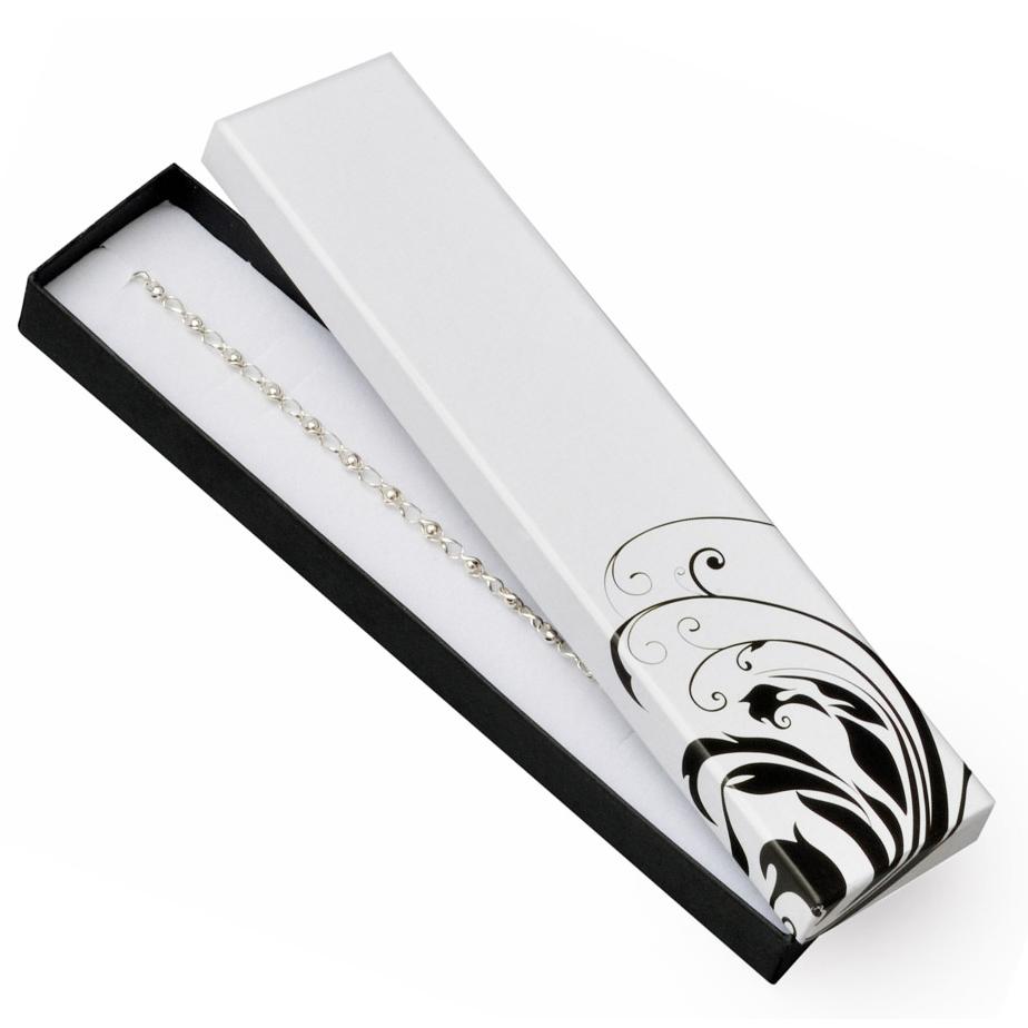 Bílá/černá dárková krabička na náramek