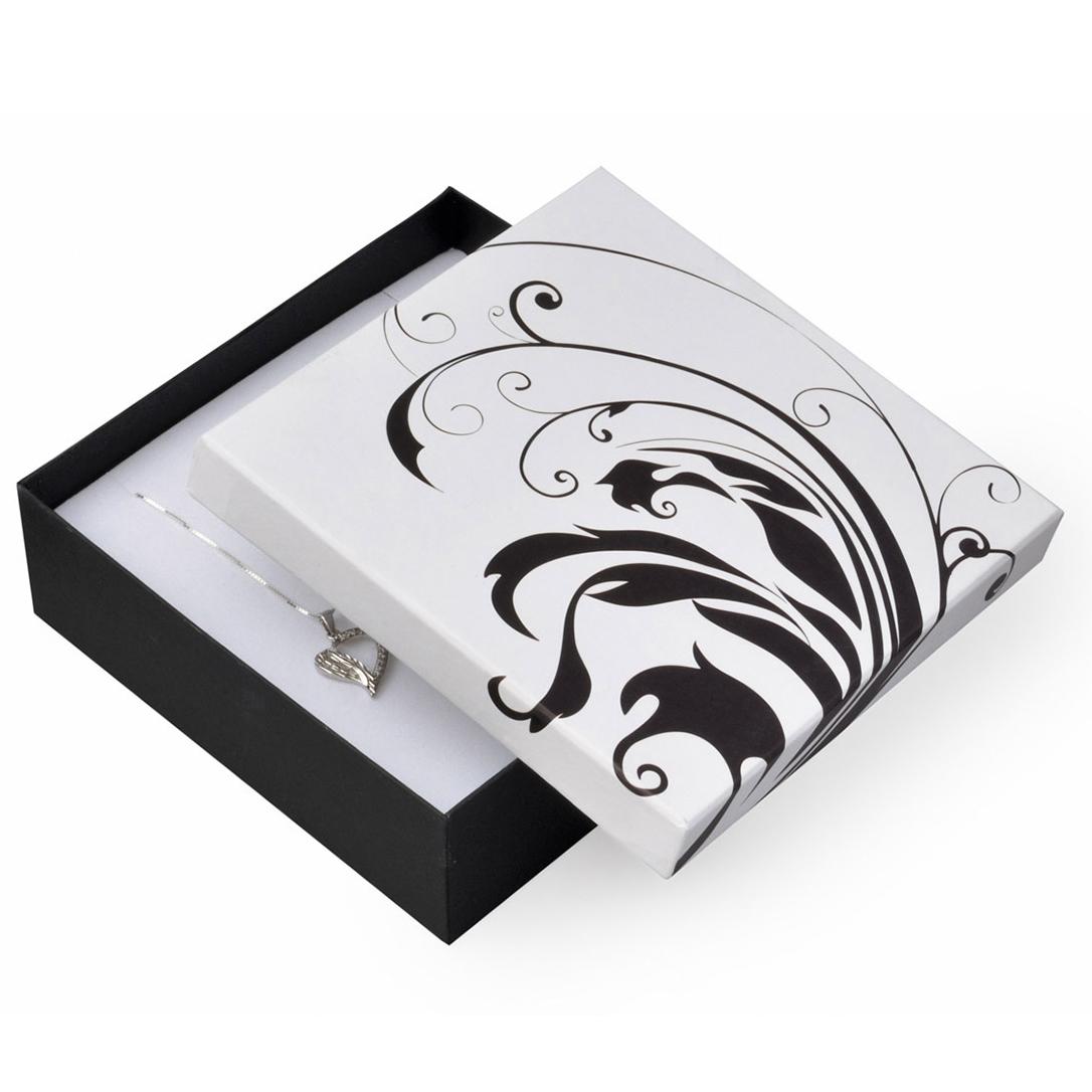 Biela / čierna darčeková krabička na súpravu šperkov veľká