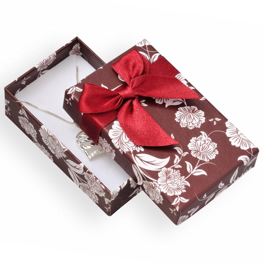 Bordó/bílá dárková krabička na soupravu šperků