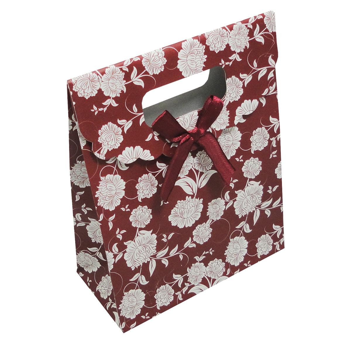 Dárková taška bordó s květinovým dekorem