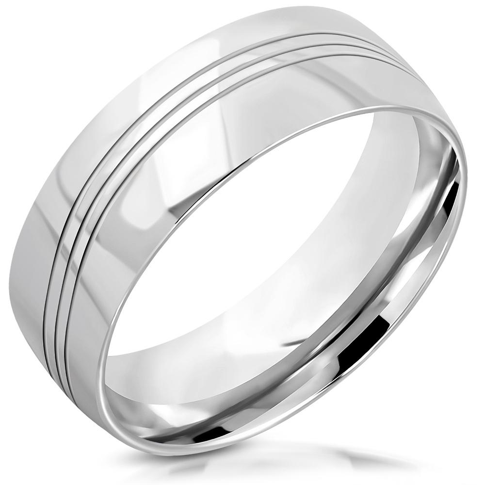 Dámsky oceľový snubný prsteň, šírka 8 mm