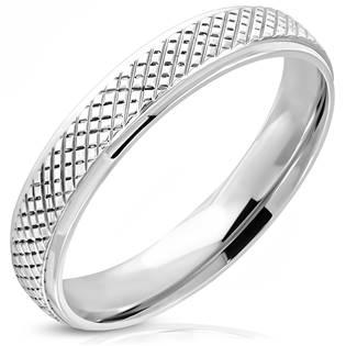 OPR1744 Ocelový prsten křížkový dekor, vel. 52