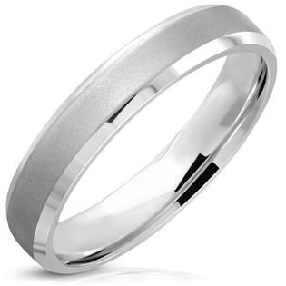OPR1745 Ocelový prsten matný dekor, vel. 49