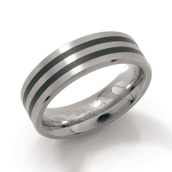 Pánsky titánový snubný prsteň s čiernymi pruhmi BOCCIA® 0101-17