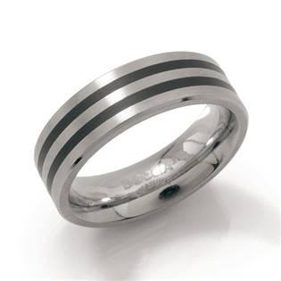 Titanový prsten s černými pruhy BOCCIA® 0101-17