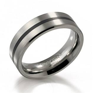 Titanový prsten s černým smaltem BOCCIA® 0101-14