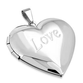 Ocelový přívěšek - medailon otevírací - srdíčko s textem LOVE
