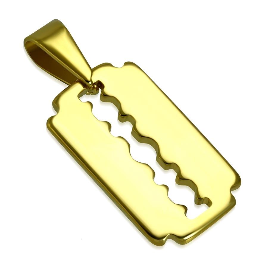 Zlacený ocelový přívěšek - žiletka