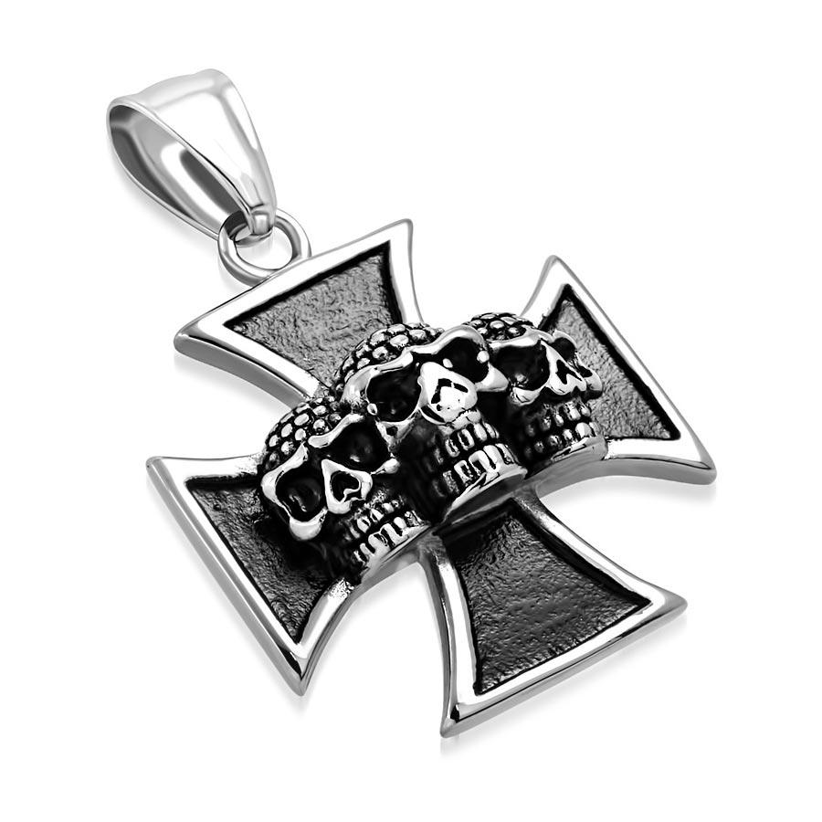 Ocelový přívěšek - maltézský kříž s lebkami