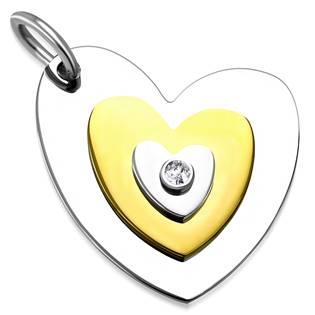 Ocelový přívěšek - srdce se zirkonem