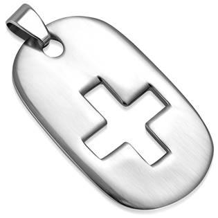 Šperky4U Ocelový přívěšek - destička s křížem 26 x 44 mm - DR1214