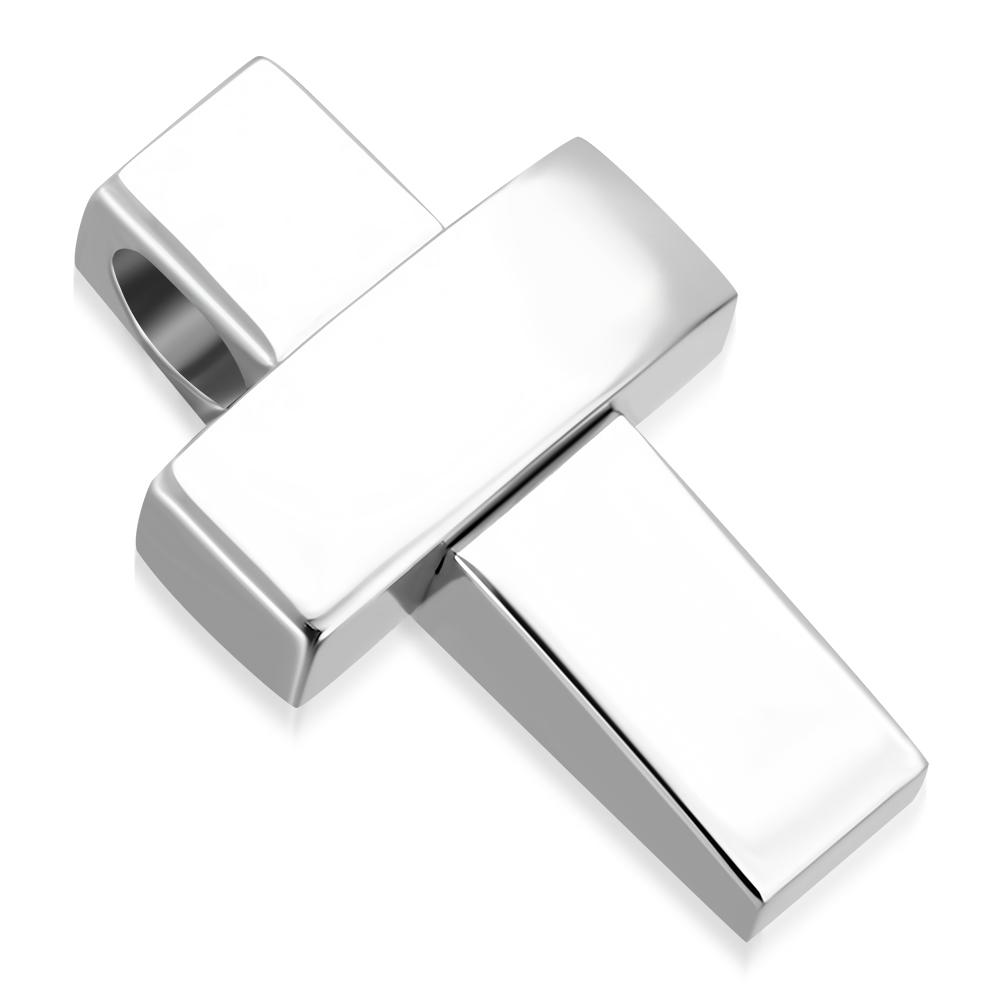 Ocelový přívěšek - kříž provlékací