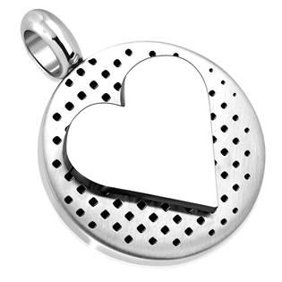 Ocelový přívěšek - kulatá destička se srdcem