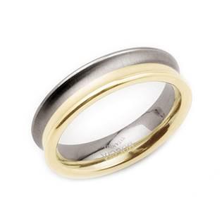 Titanový prsten se zlaceným pruhem BOCCIA® 0117-01