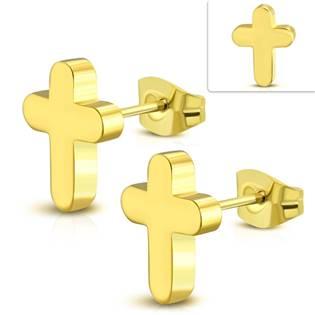 Zlacené ocelové náušnice kříže
