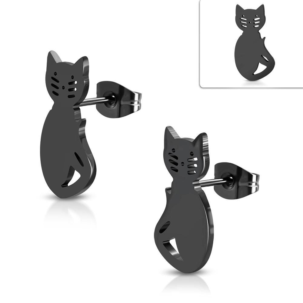 Čierne oceľové náušnice mačičky