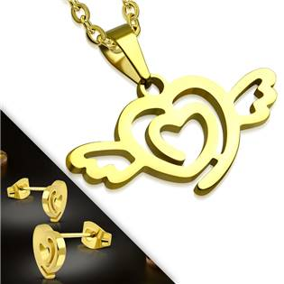 SET0057 šperků z chirurgické oceli, okřídlené srdce