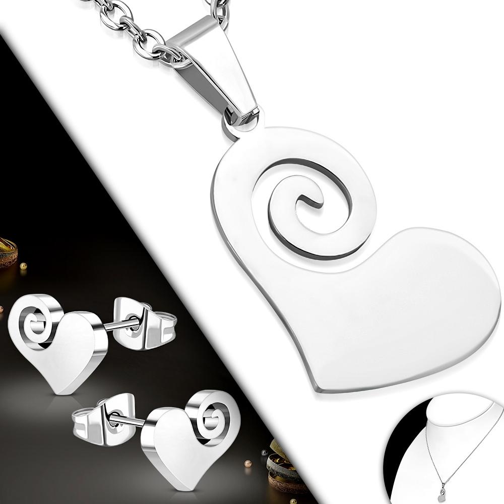 Souprava šperků z chirurgické oceli, srdíčka
