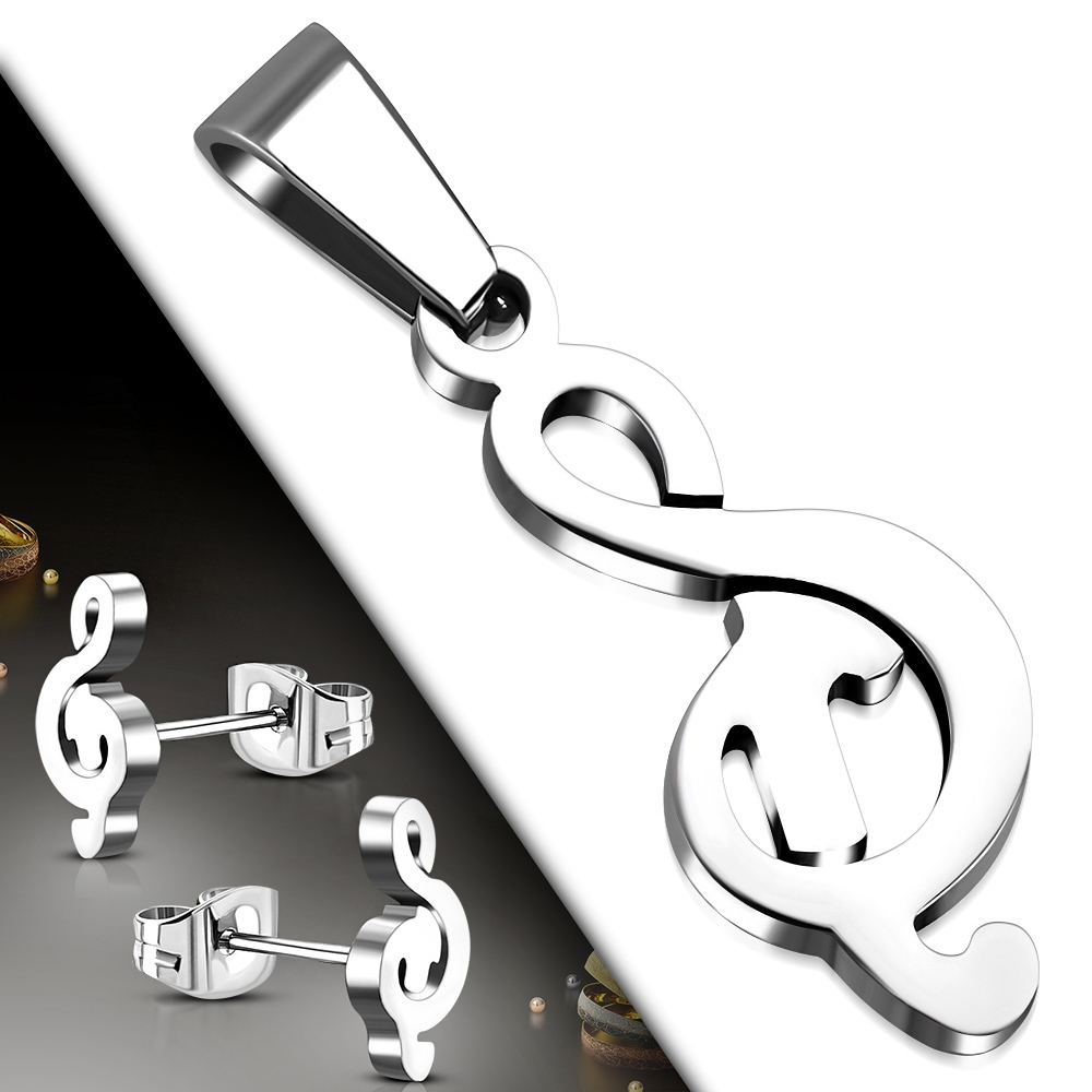 Souprava šperků z chirurgické oceli houslový klíč