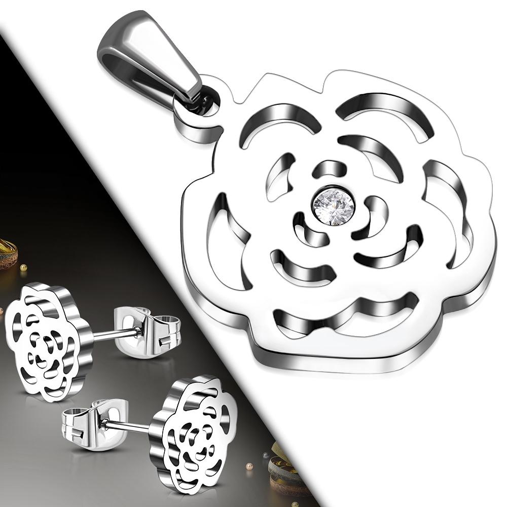 Souprava šperků z chirurgické oceli růžičky