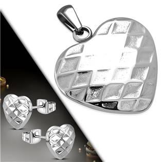 SET0063 Souprava šperků z chirurgické oceli srdíčka