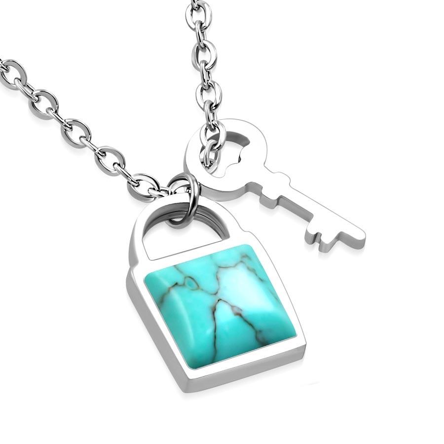 Oceľová retiazka s príveskom s tyrkysovým kameňom