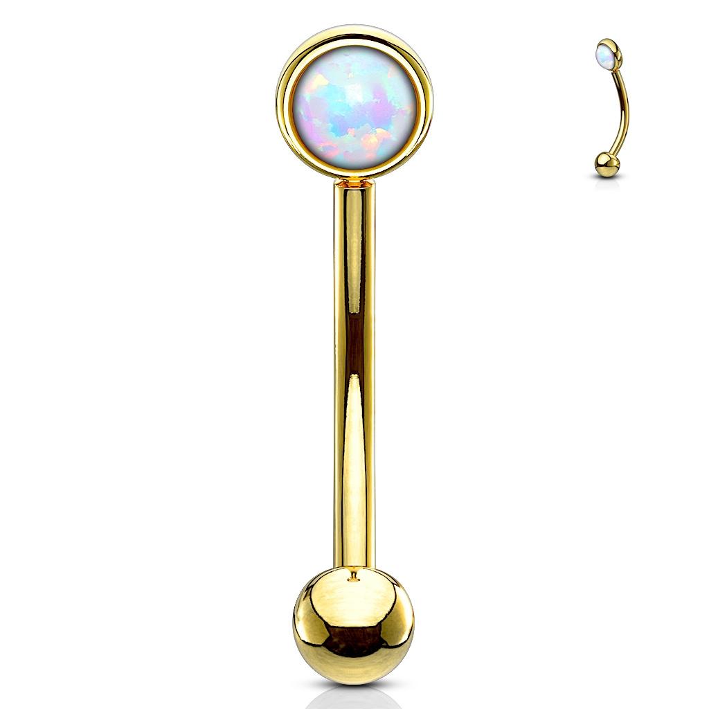 Zlacený piercing do obočí, bílý opál