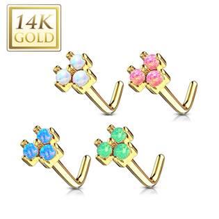Zlatý piercing do nosu s opály, Au 585/1000