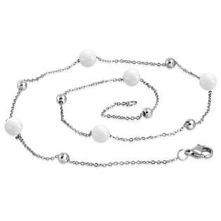 Ocelový náhrdelník s bílými keramickými kuličkami