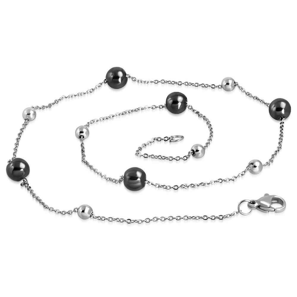 Ocelový náhrdelník s černými keramickými kuličkami