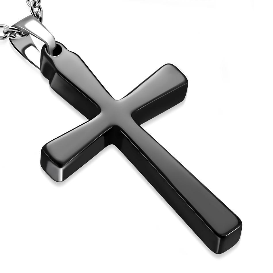 Ocelový náhrdelník s černým keramickým křížem OPD0125-K