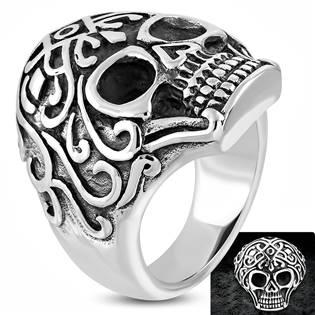 Ocelový motorkářský prsten s lebkou